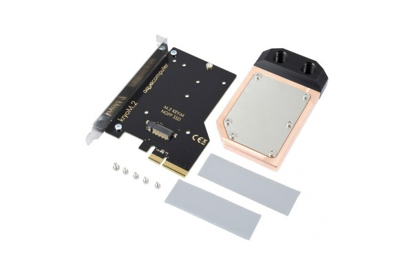 Aquacomputer kryoM.2 PCIe 3.0/4.0 x4 adapter for M.2 NGFF PCIe SSD, M-Key with water block